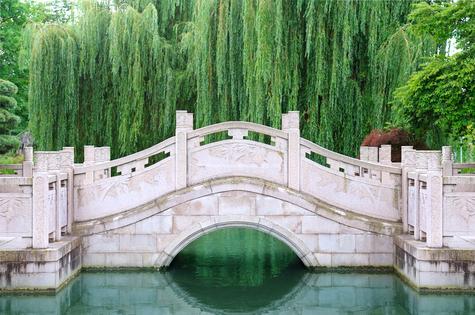 beautiful stone bridge in city park